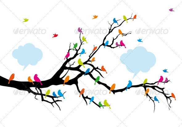 Color Birds On Tree, Vector - Animals Characters