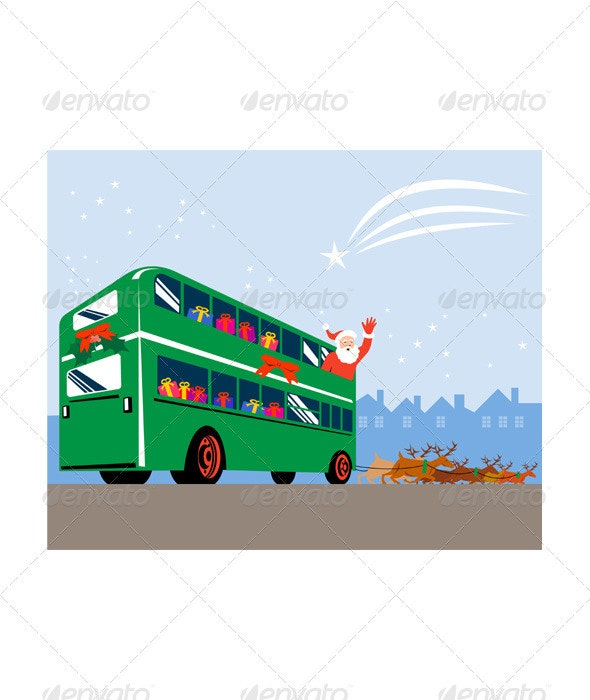 Santa Claus Double Decker Bus - Christmas Seasons/Holidays