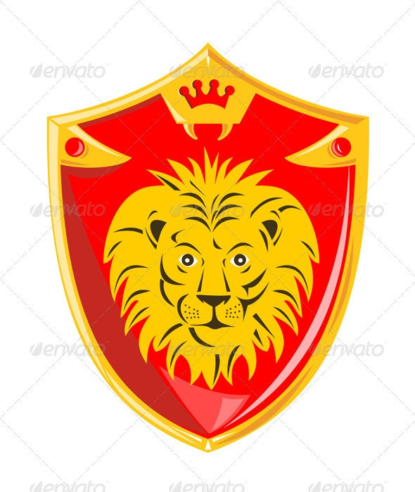 Lion Crown Shield Retro - Animals Characters