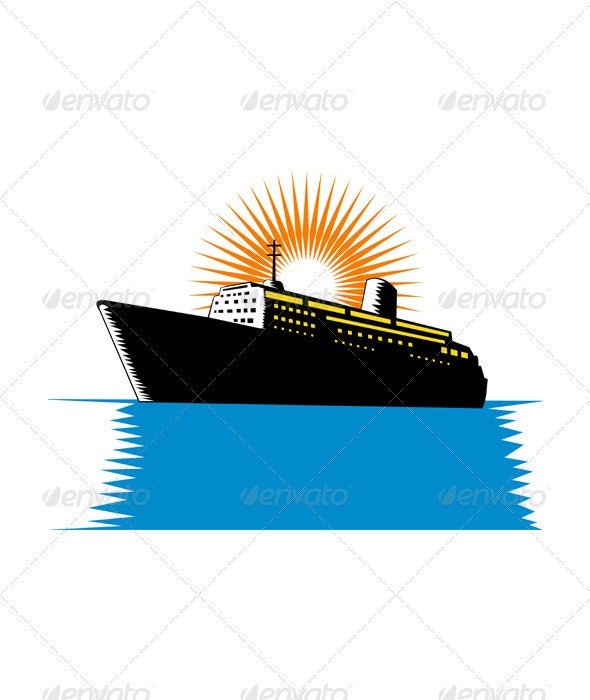 Passenger Ship Cargo Boat Retro  - Man-made Objects Objects