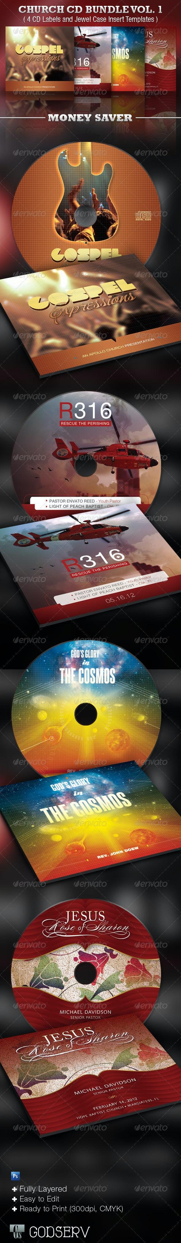 Church CD Template Bundle Vol 1 - CD & DVD Artwork Print Templates