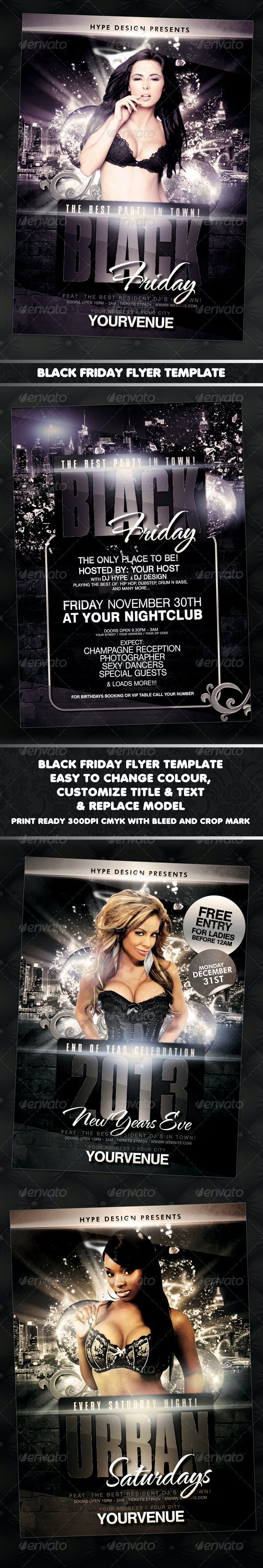 Black Fridays New Years Urban Flyer Template - Clubs & Parties Events