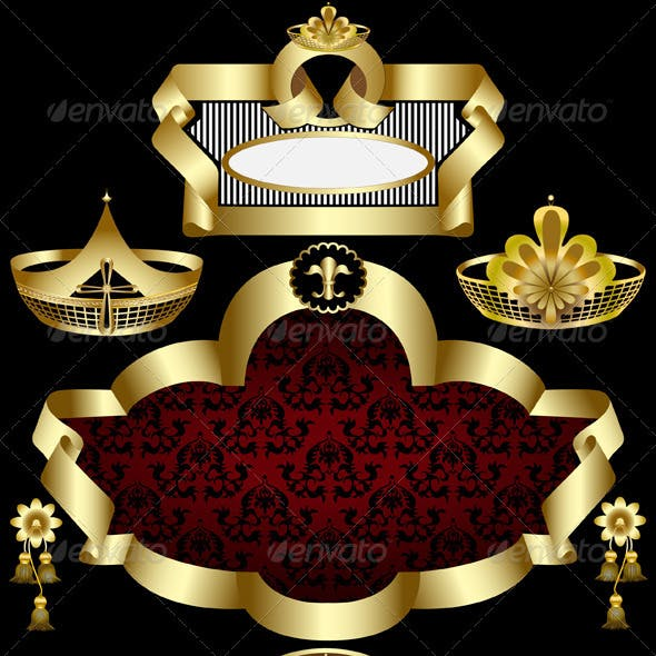 Elegant Golden Frame with Patterns of Crowns