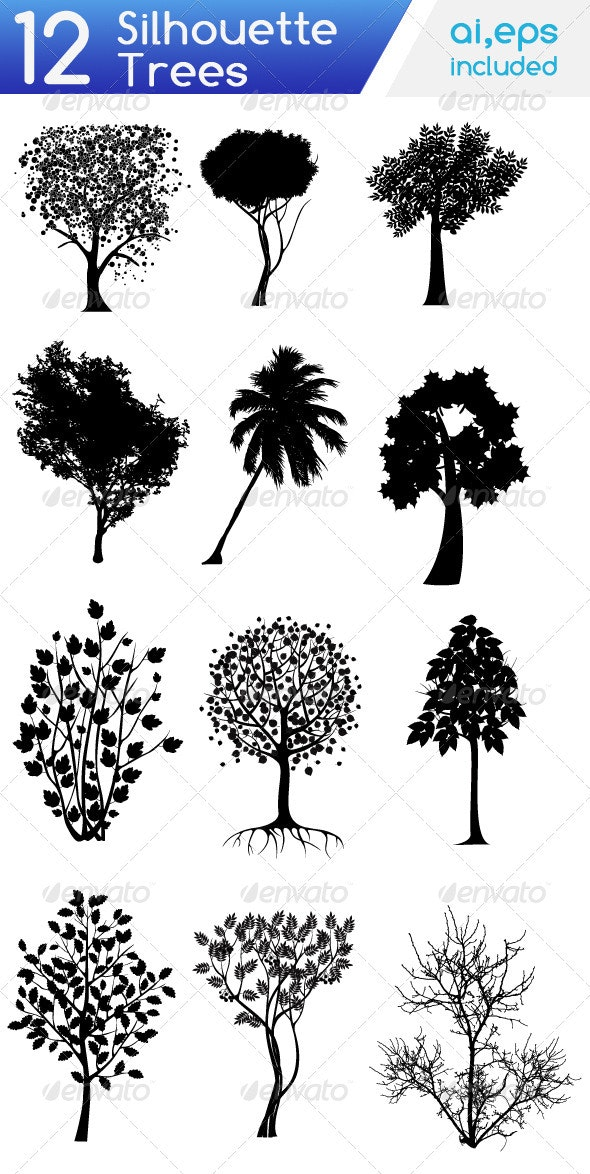Tree Silhouette Set - Flowers & Plants Nature