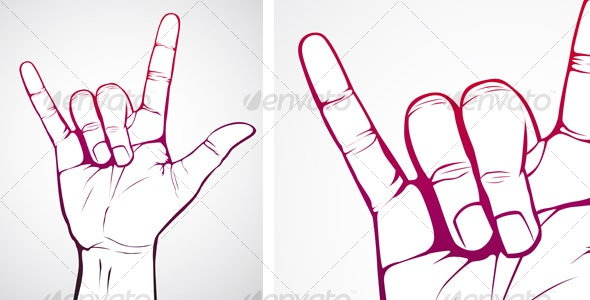 Hand in Rock Sign - Decorative Symbols Decorative
