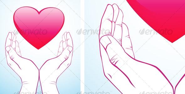 Hand Holding Heart - Decorative Symbols Decorative