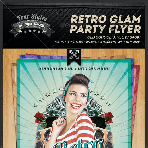 Retro Glam Party Flyer