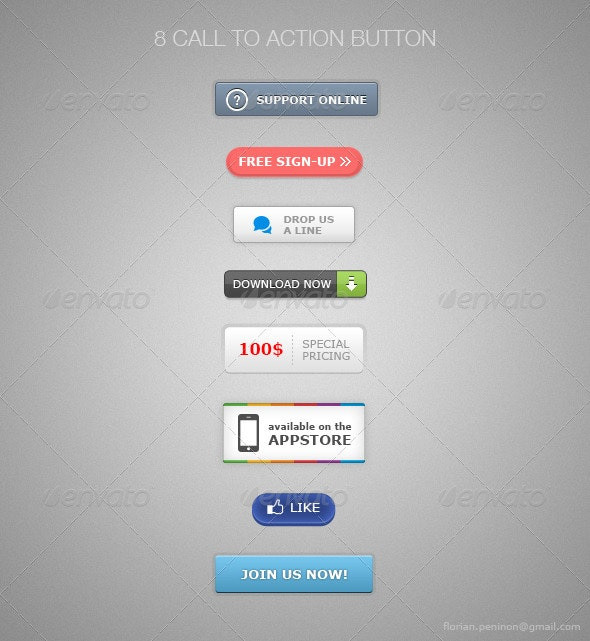 8 Call to Action Buttons - Buttons Web Elements