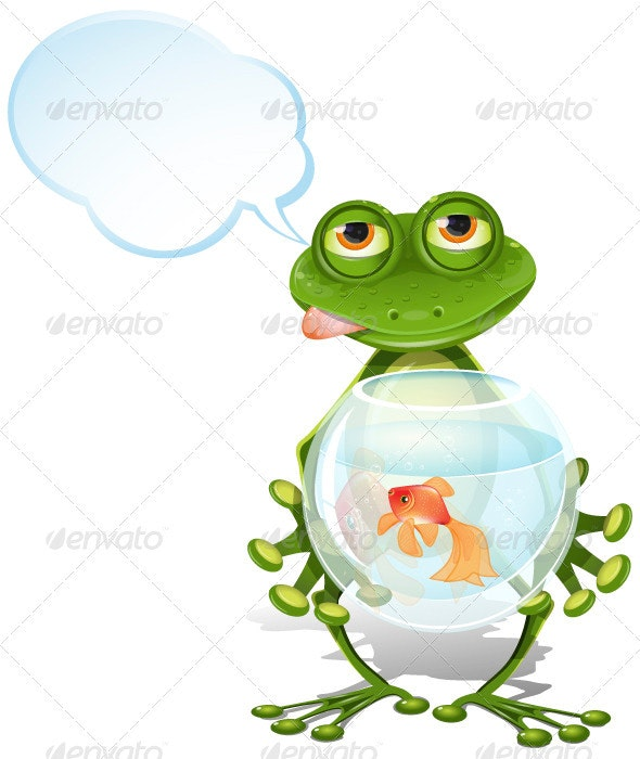 Frog and a goldfish - Animals Characters