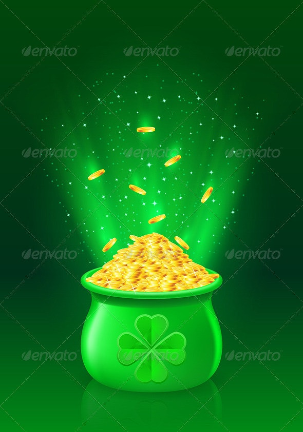 Pot with full of gold coins - Miscellaneous Vectors
