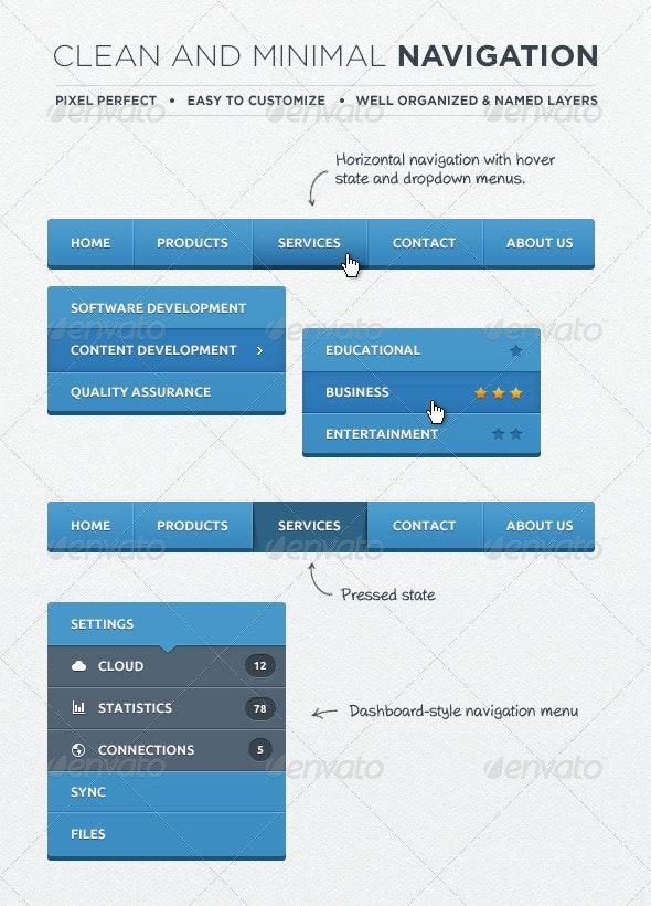 Web Navigation Elements - Navigation Bars Web Elements