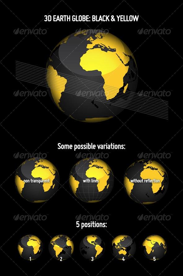 3D Earth Globe: Black & Yellow - Objects Vectors
