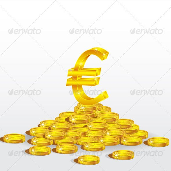 Symbol of Gold  Euro with coins