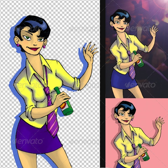 After Work Party Girl Illustration - People Illustrations