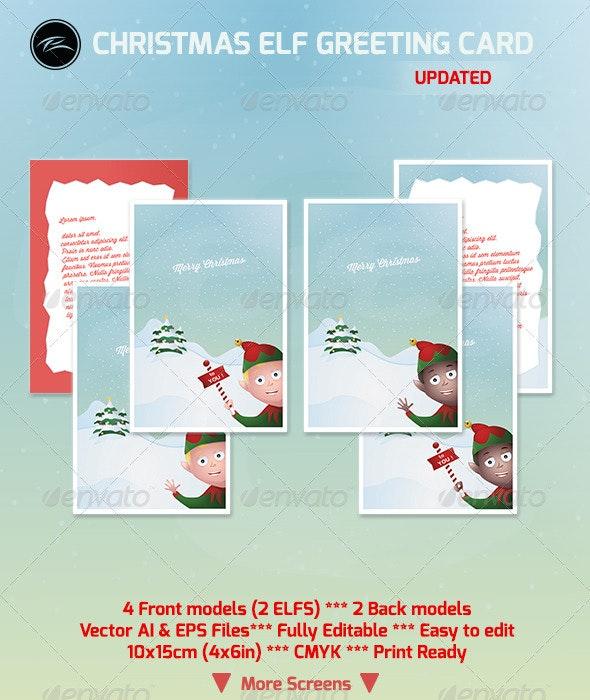 Christmas Elf Greeting Card - Holiday Greeting Cards