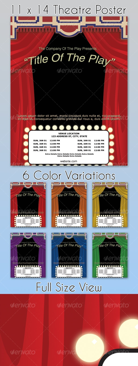 Theatre Poster Template - 6 Colors - Miscellaneous Events