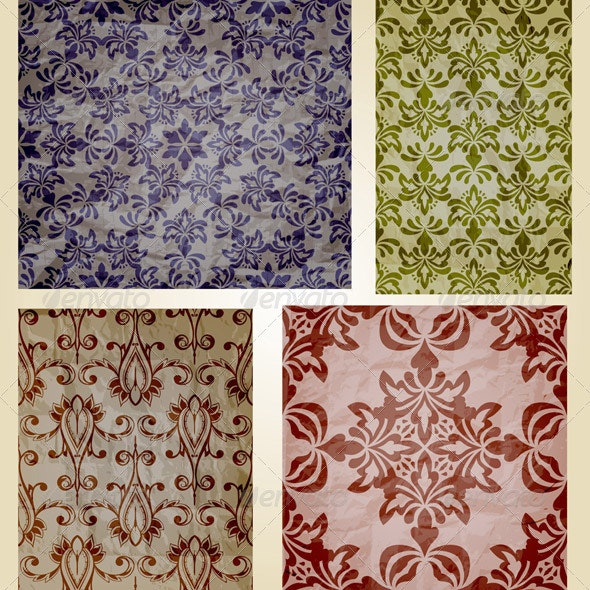 Vector Retro Seamless Patterns on Crumpled Paper T - Patterns Decorative