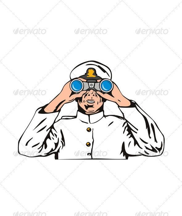 Navy Captain Sailor With Binoculars  - People Characters