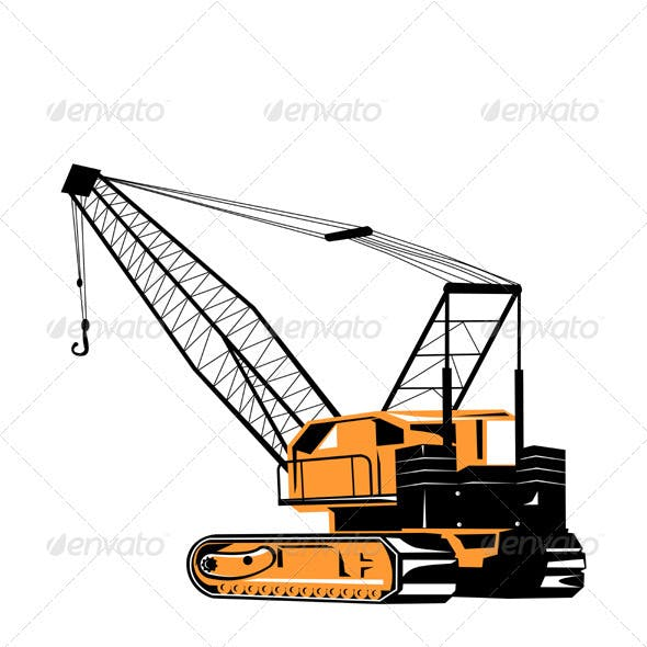 Construction Crane Hoist Retro