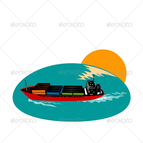 Container Ship Cargo Boat