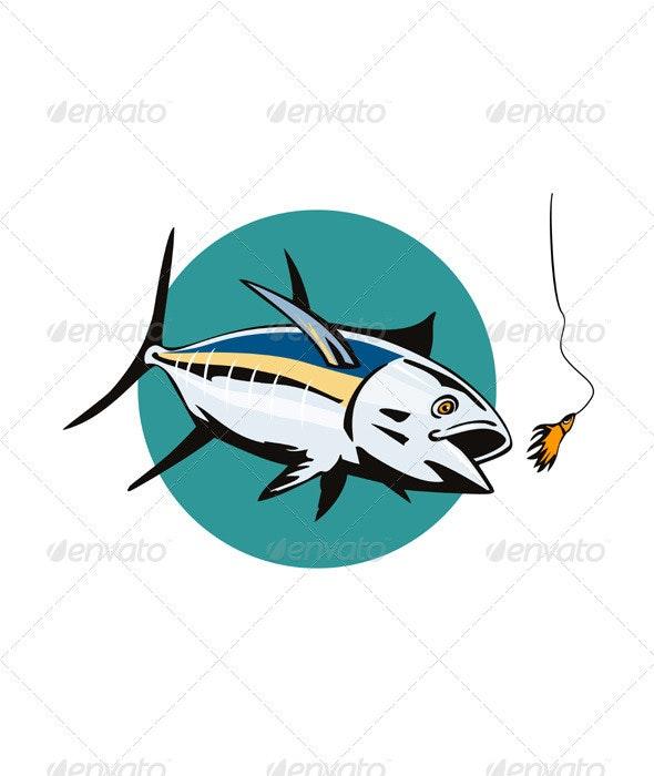 Albacore Tuna Fish Retro - Animals Characters