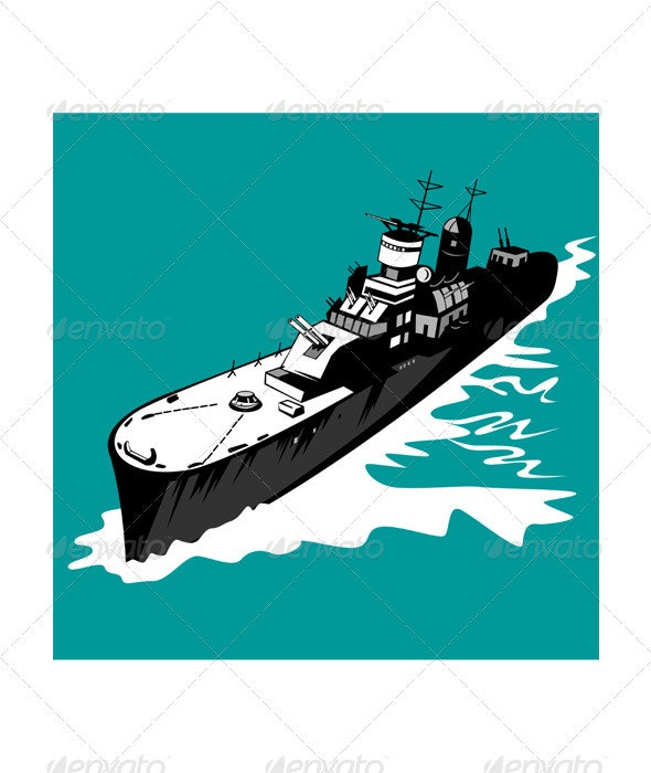World War Two Battleship Warship Cruiser Retro  - Man-made Objects Objects