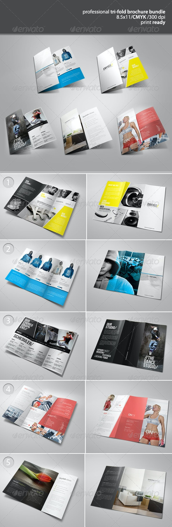 Tri-Fold Brochure Bundle 2 - Brochures Print Templates