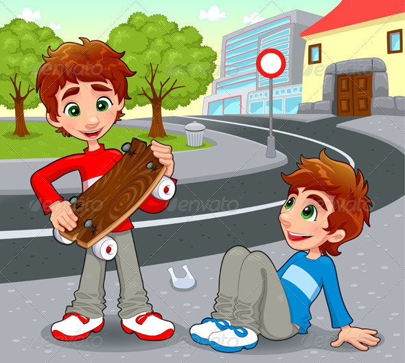 Twins with an homemade skateboard. - People Characters