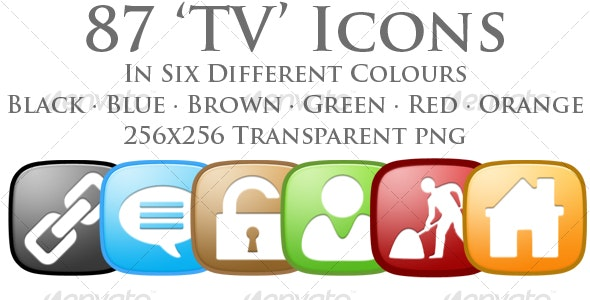 A collection of 87 'TV' Shaped Icons - Web Icons