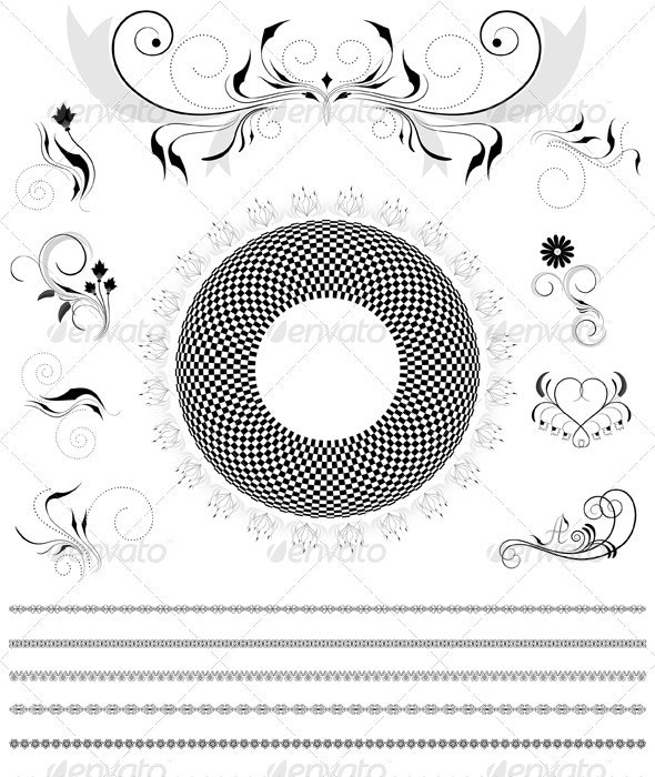 Collection of Calligraphic Details for the Border  - Borders Decorative