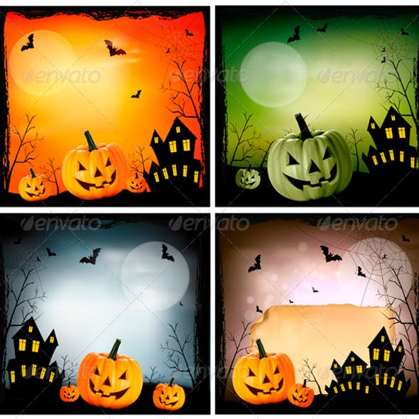 Four Halloween backgrounds