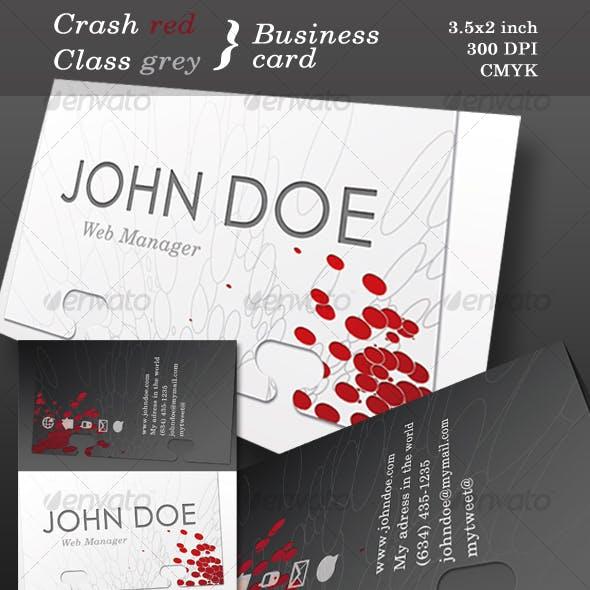 Crash red, Class grey, Business card.