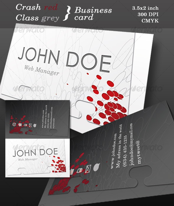 Crash red, Class grey, Business card. - Corporate Business Cards
