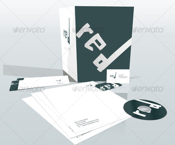 Corporate Identity 3D Stationary Mock up - Stationery Print