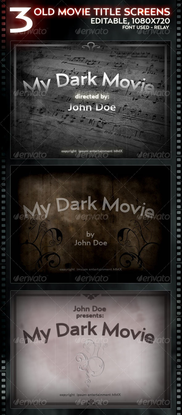 3 Old Movie Title screens - Layered - Miscellaneous Backgrounds