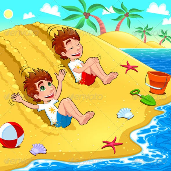 Twins are playing on the beach.