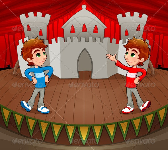 Twins are acting on the stage. - People Characters