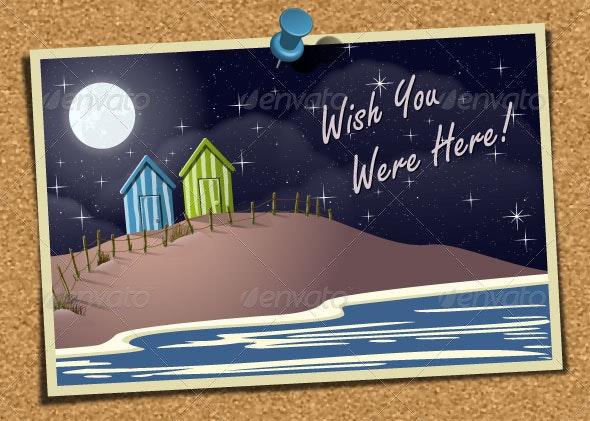 Beach Postcard on Corkboard - Travel Conceptual