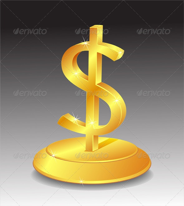 Symbol of Gold dollar on stand - Business Conceptual