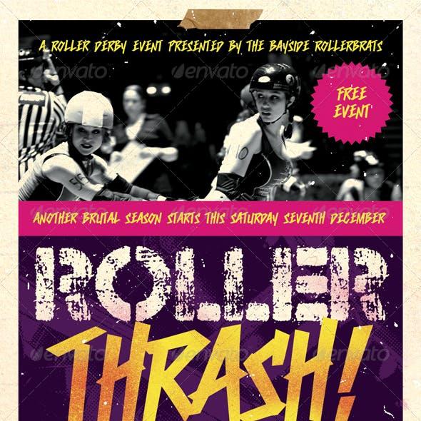 Roller Thrash - Roller Derby Flyer Template
