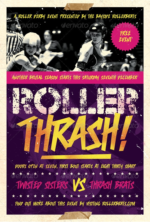Roller Thrash - Roller Derby Flyer Template - Sports Events