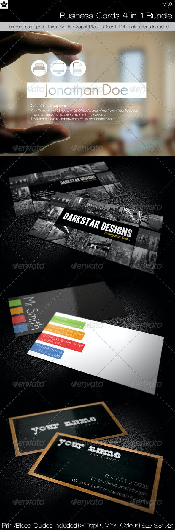 Business cards 4 in 1 Bundle 2 - Corporate Business Cards
