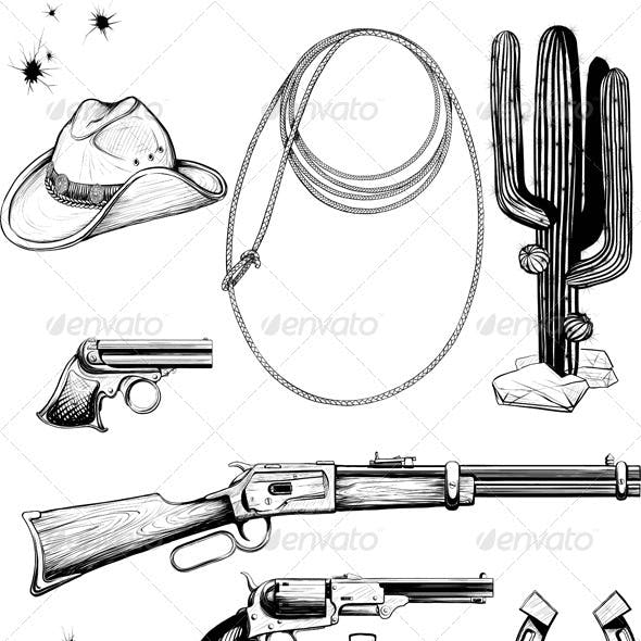 Collection cowboy and Wild West accessories