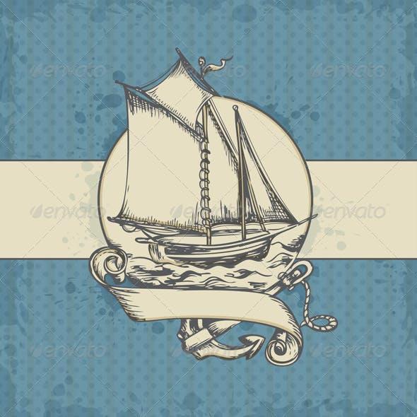 Marine Background with Ship