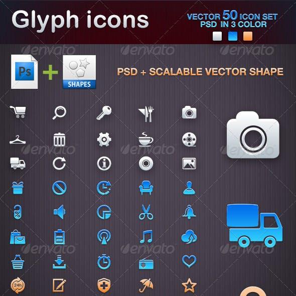 50 Glyph icons