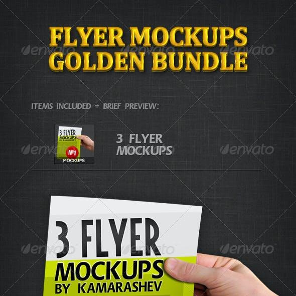 Flyer Mockups Golden Bundle