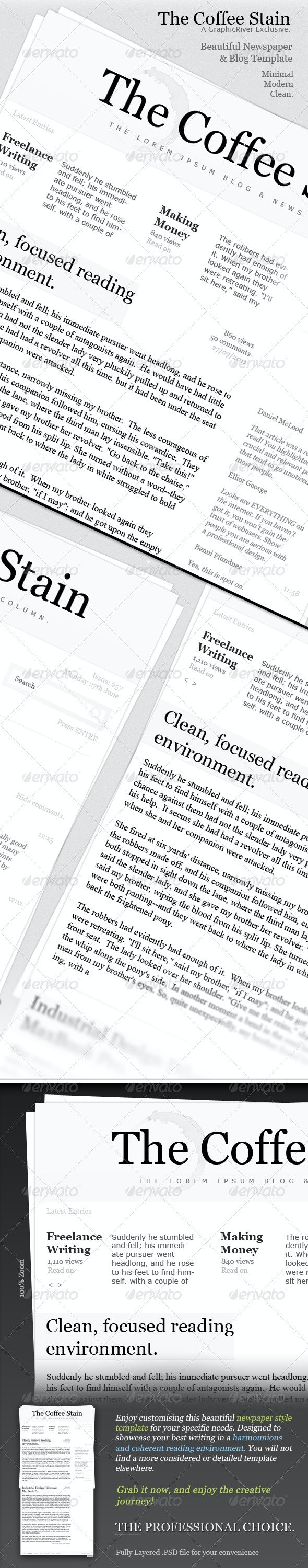 Newspaper Column Template - The Coffee Stain  - E-newsletters Web Elements