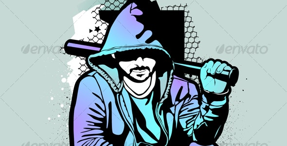 Gangster on dirty graffiti background - People Characters
