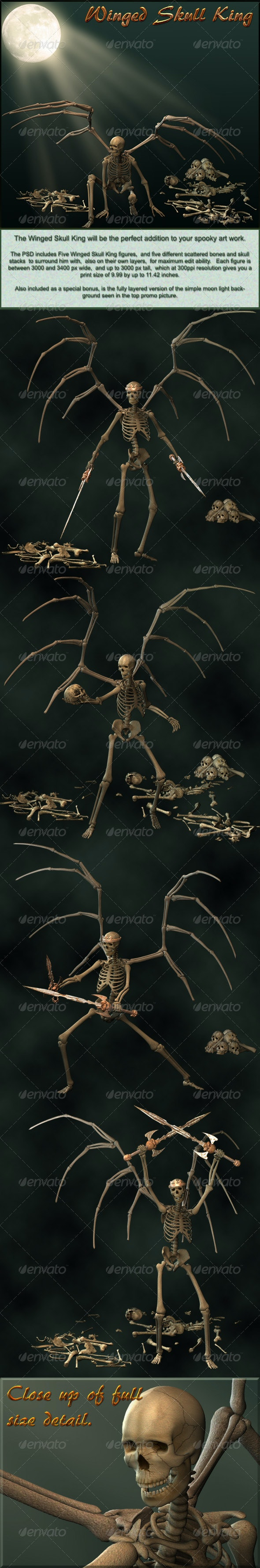 Winged Skull King with Scattered Bones  PSDs  - Characters 3D Renders