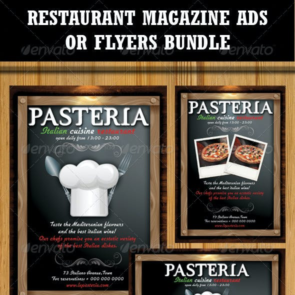 Restaurant Magazine Ads-Flyers Bundle